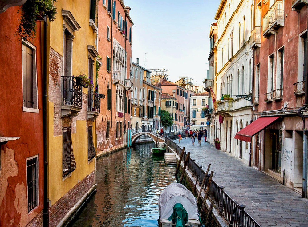 pretty canal in Venice Italy