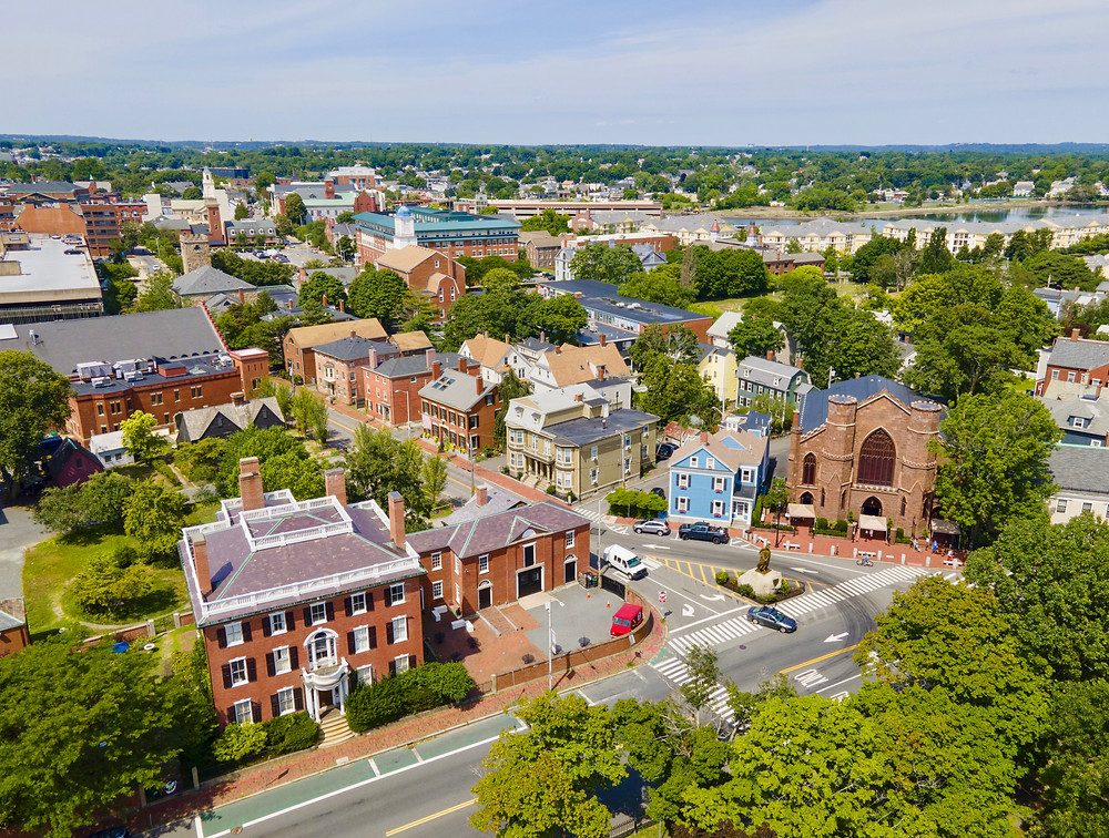 Aerial view of Salem historic city center including Salem Witch Museum and Andrew Safford House