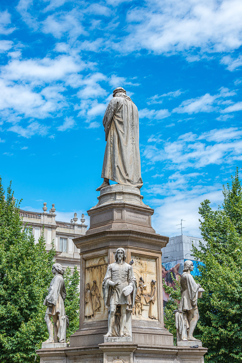 another view of the Leonardo Monument in Milan