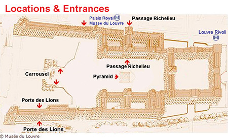 different entrances to the Louvre