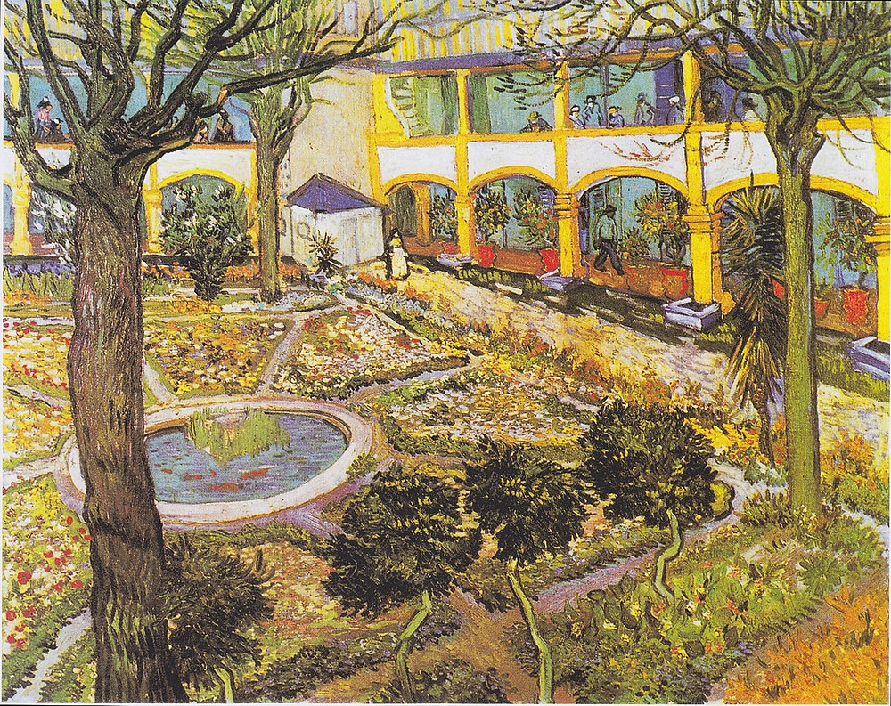 Van Gogh, Garden of the Hospital in Arles, 1889 -- Van Gogh stayed in this hospital for awhile after lopping off his ear