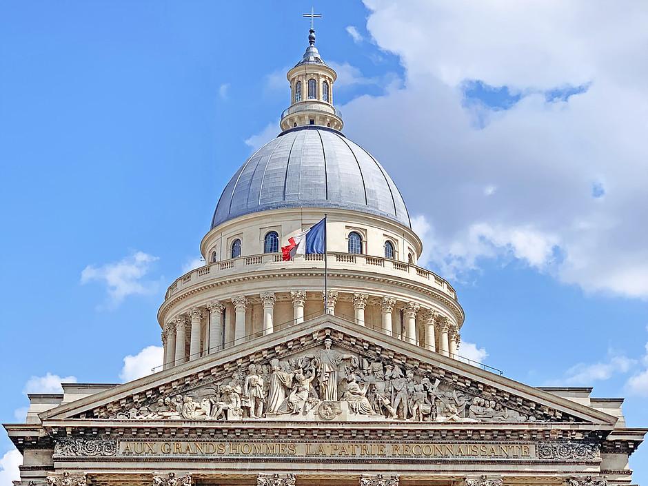 the famous dome and pediment of Paris' Pantheon