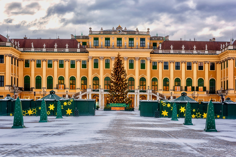 Schonbrunn Palace decorated for Christmas