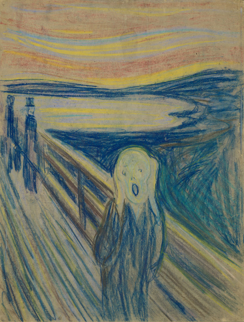 Edvard Mumch, The Scream -- this is a pastel version from 1893 that has never been stolen. Another pastel version sold for 74 million pounds.