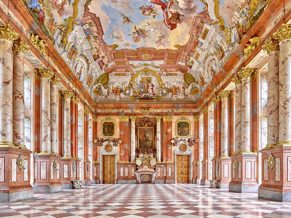 the impressive Marble Hall with stucco marble decoration