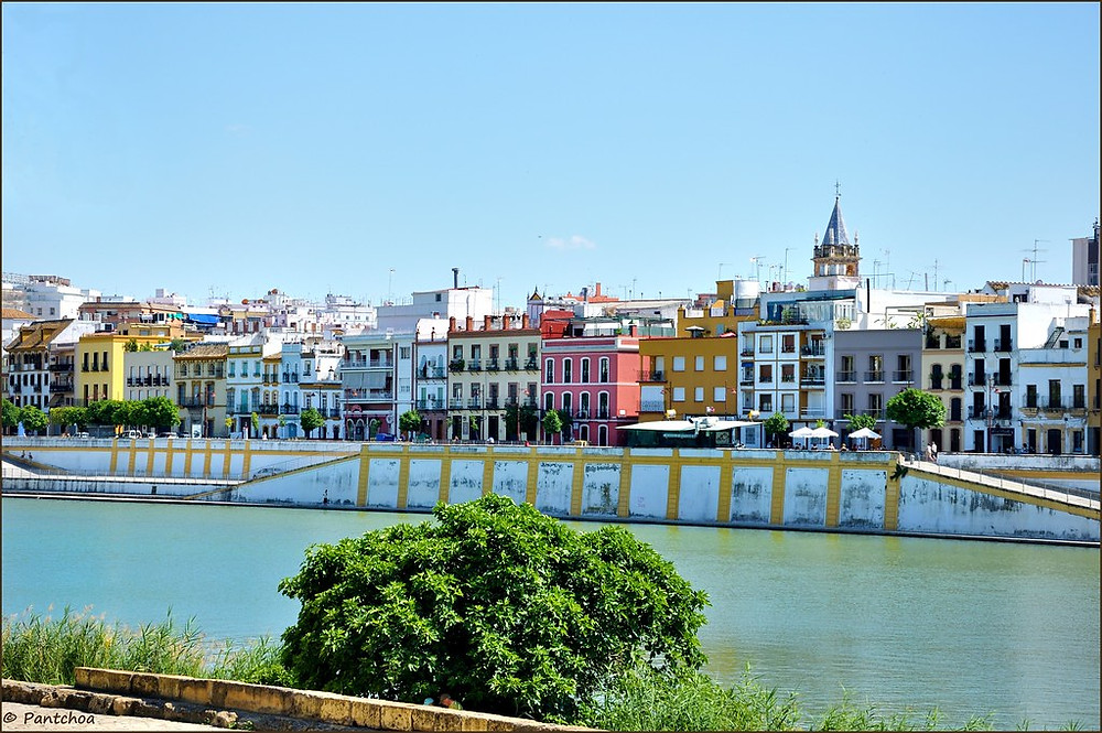 a view of Calle Betis along the river in Triana