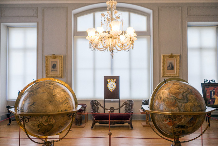 you're greeted by two 16th century Italian globes, one of the known world and one of the constellations