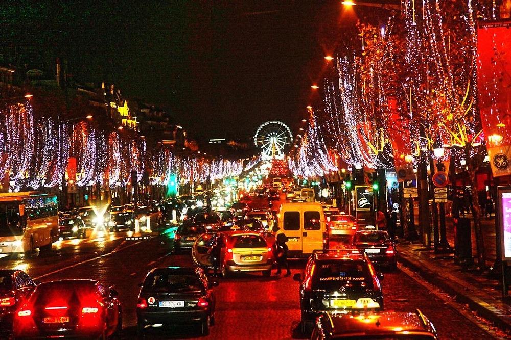 lights on the Champs Elysees