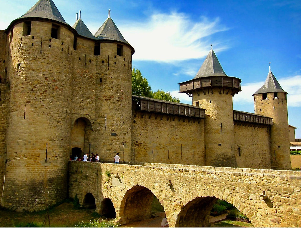 Chateau Comtal, the entrance to the ramparts of the village of Carcassonne in Occitanie France