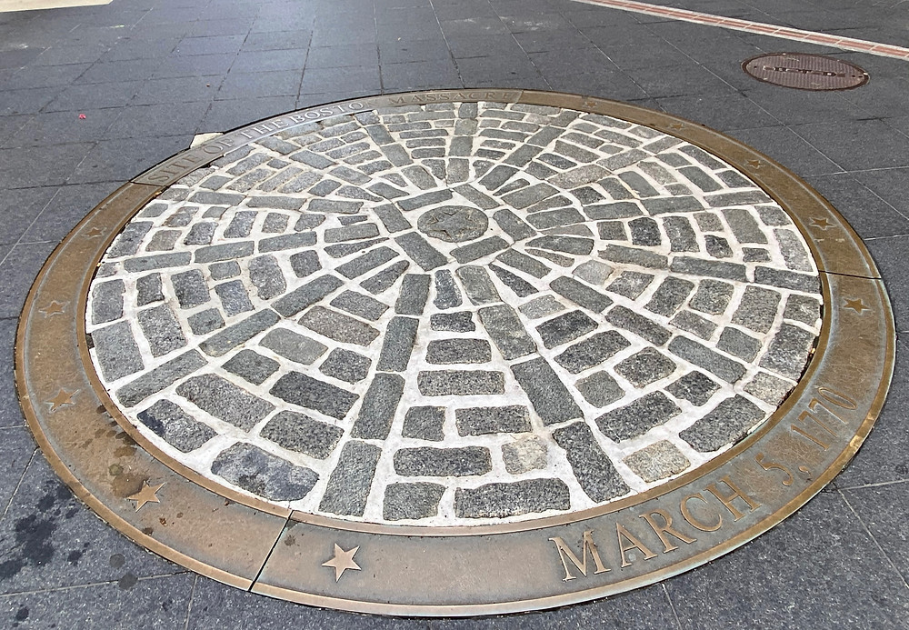 plaque commemorating the Boston Massacre on the Freedom Trail