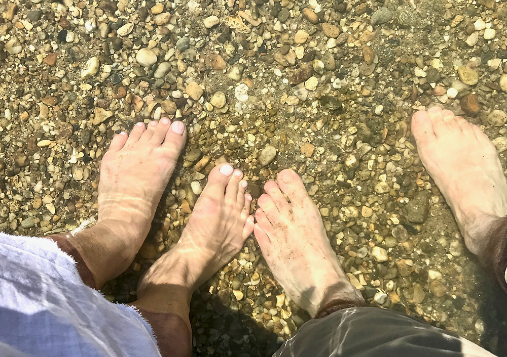 dipping our feet in the Gardon River to cool off