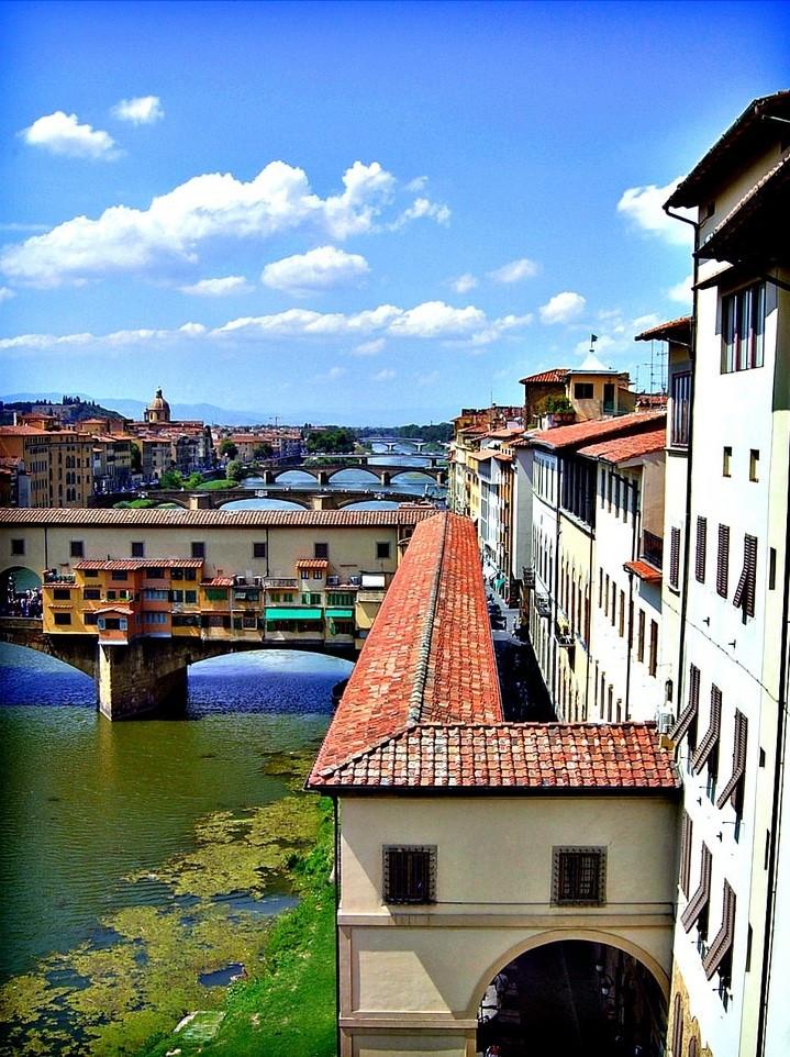 the Vasari Corridor, snaking over the Ponte Vecchio