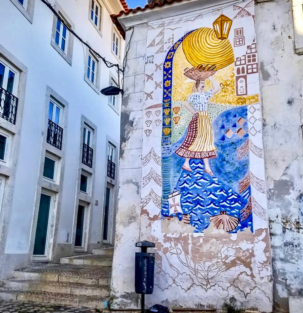 azulejo facade in Alfama