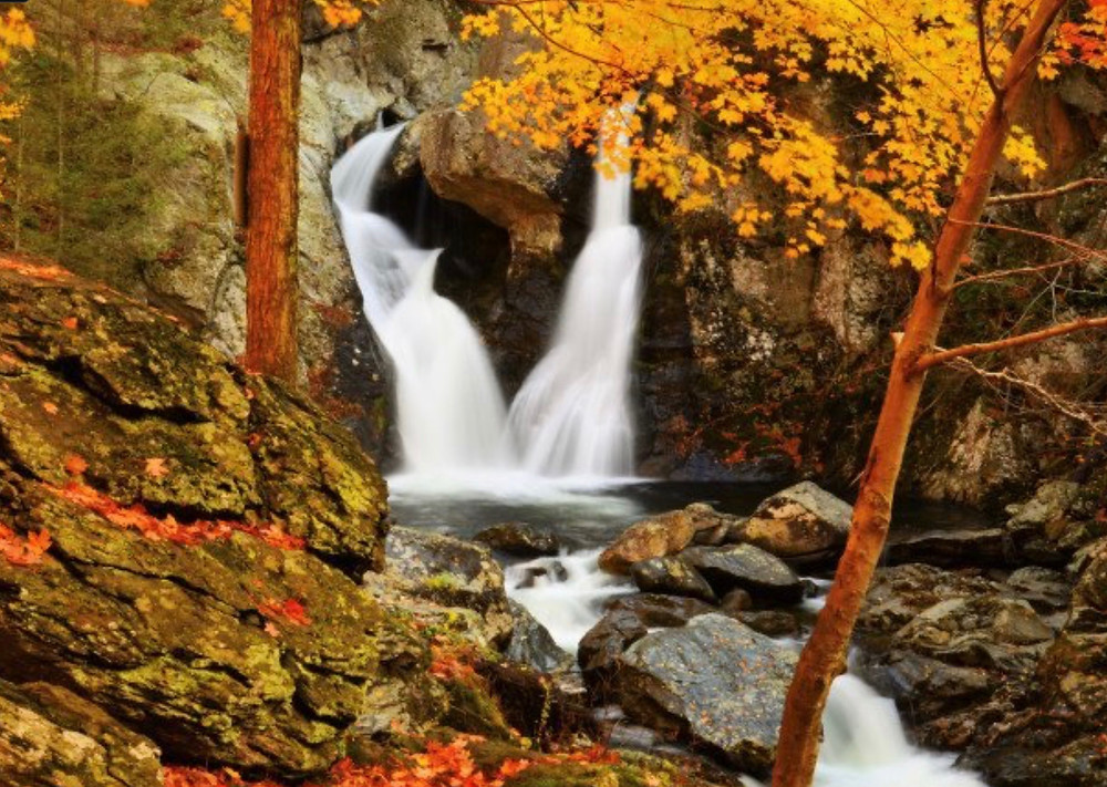 Bish Bash Falls, a popular double waterfall in the Berkshires