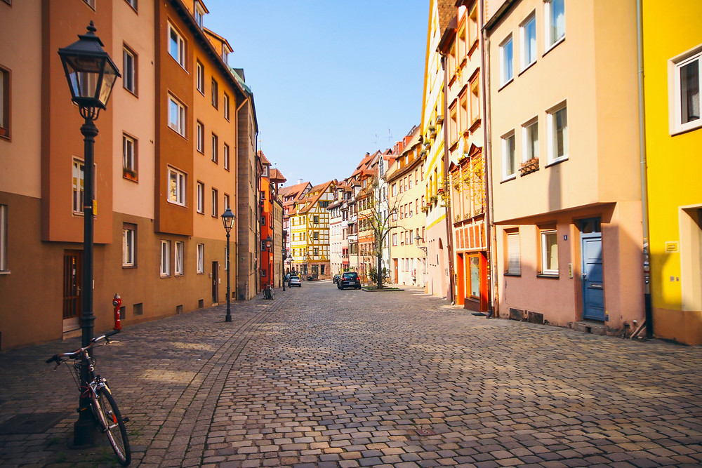 the quaint Weibgerbergasse Street in Nuremburg