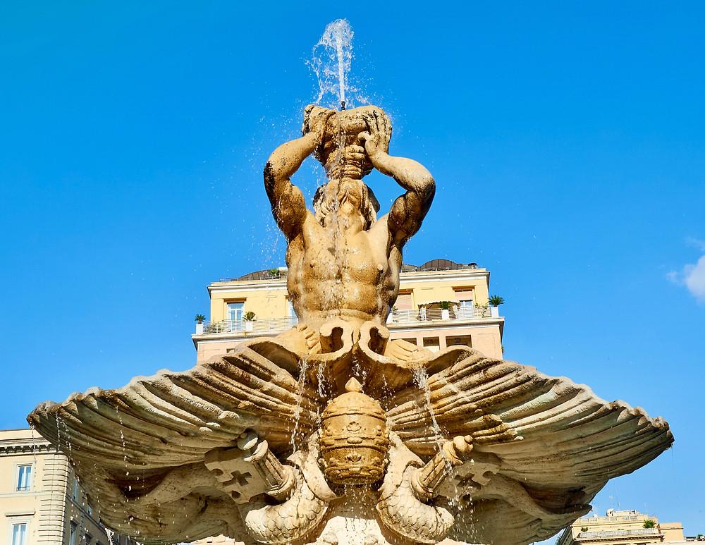 Bernini, Triton Fountain, 1642 -- in the Piazza Barberini