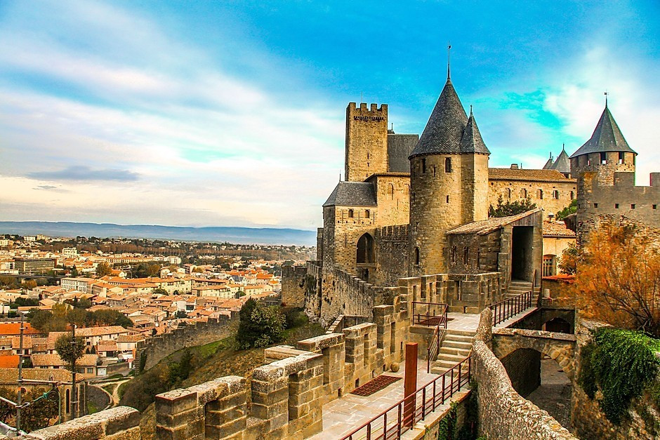 walls and towers of the fortified city of Carcassonne