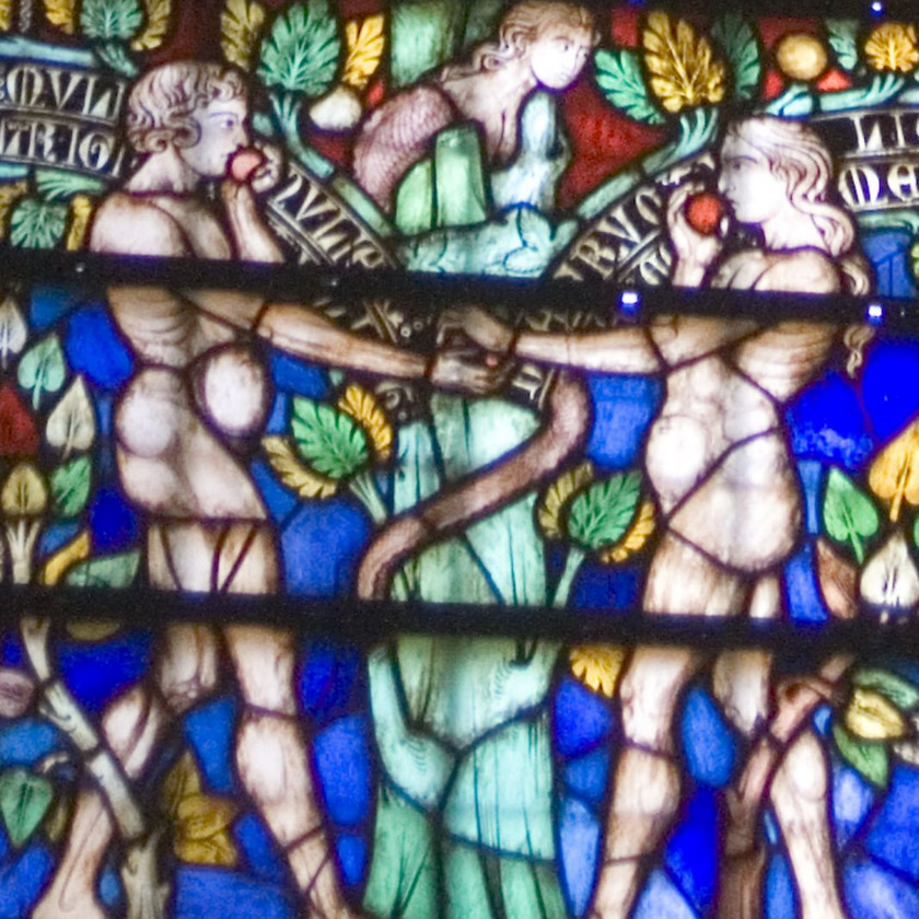 stained glass in the Basilica of Saints Nazaire