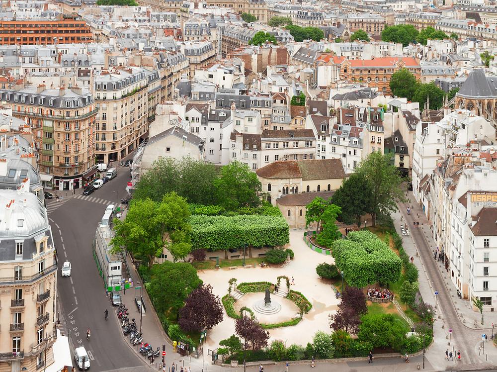 aerial view of Paris' Latin Quarter