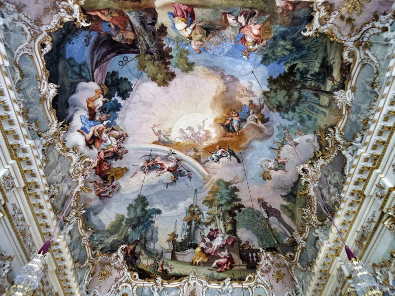 nymphs cavorting on the ceiling in the Stone Hall of Nymphenburg Palace