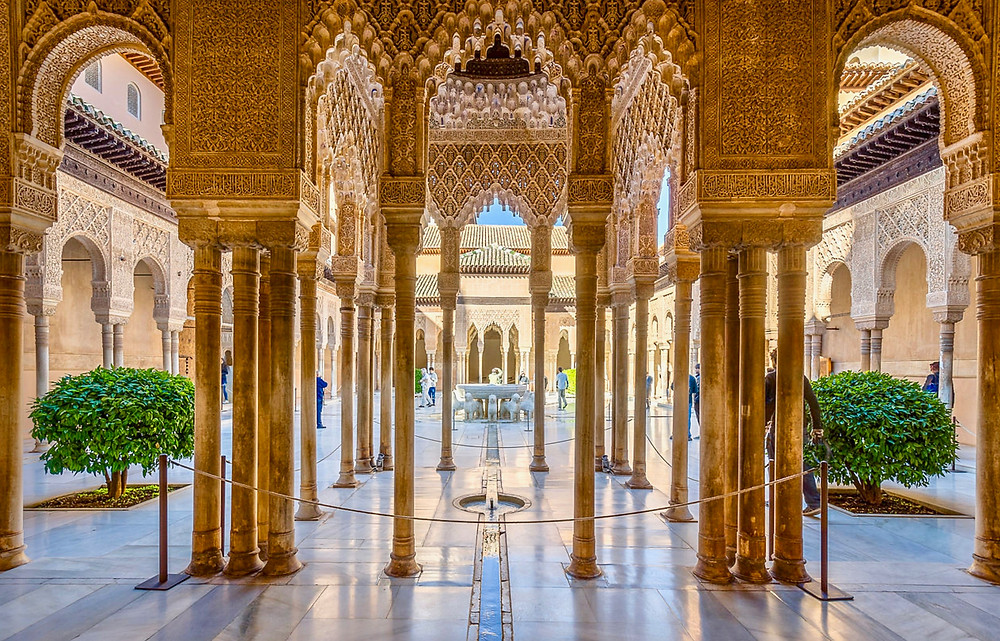 Courtyard of the Lions in the Alhambra in Granada Spain