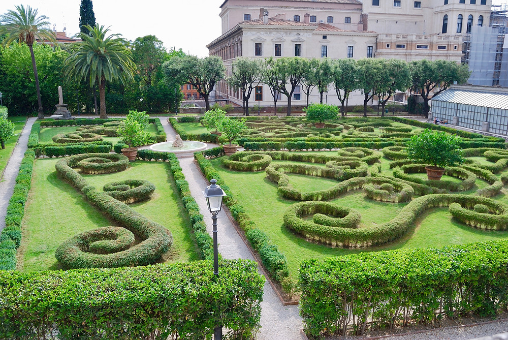 formal gardens of the Palazzo Barberini, a secret green space in Rome