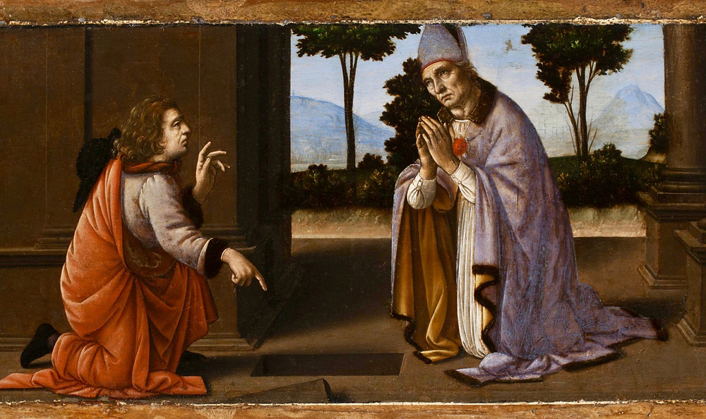 Miracle of Saint Donatus of Arezzo, 1479-85 -- the figure of Saint Donatus on the right is attributed to Leonardo, the other figure to his pupil di Credi
