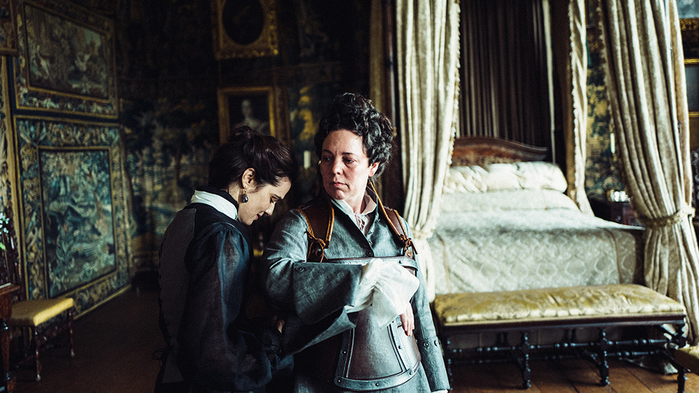 Sarah and Queen Anne in the King James Drawing Room, which doubles as Queen Anne's bedroom in the movie