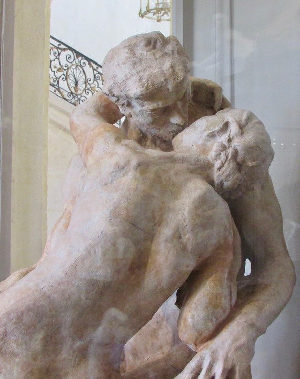 detail of The Kiss, in the Rodin Museum in Paris