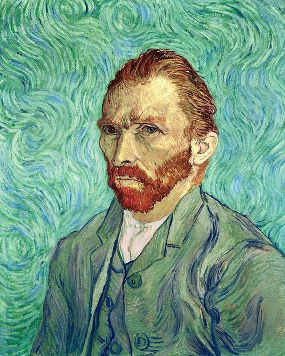 Van Gogh, Self Portrait, 1889  -- this one is in Paris' Musee d'Orsay