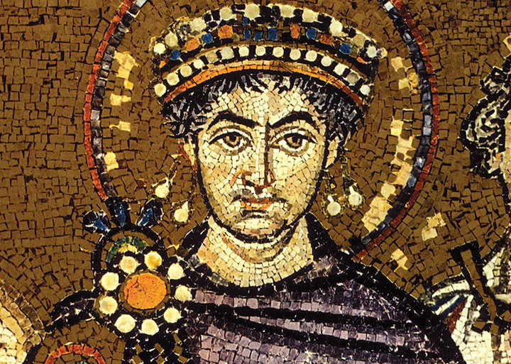 mosaic of Emperor Justinian in the Basilica of San Vitale