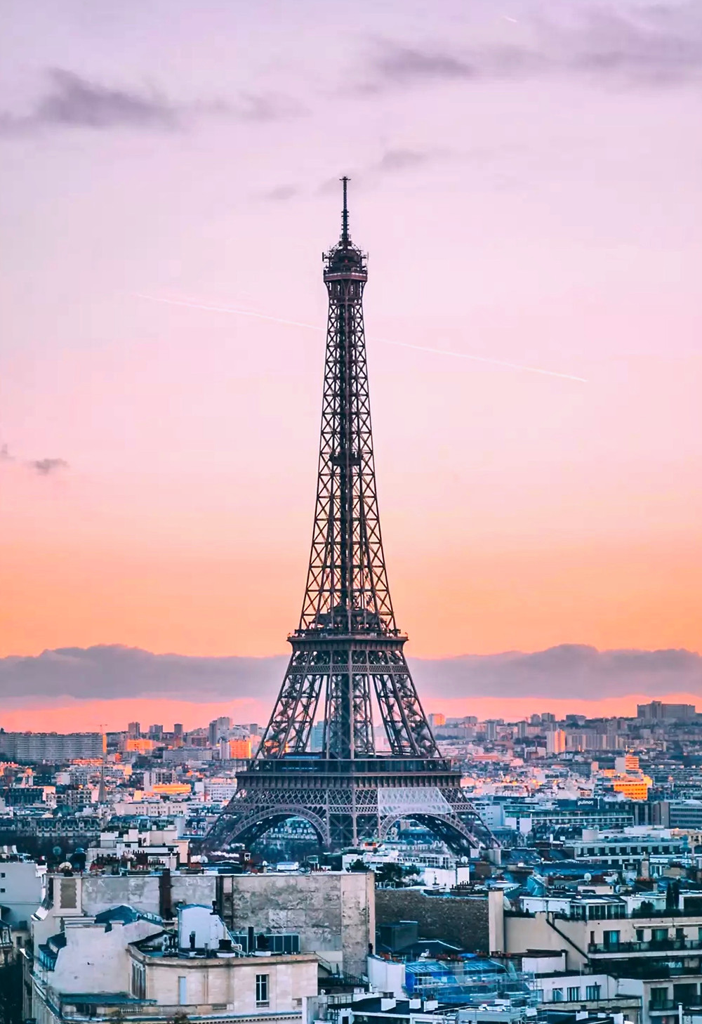 view of the Eiffel Tower from the Arc de Triomphe