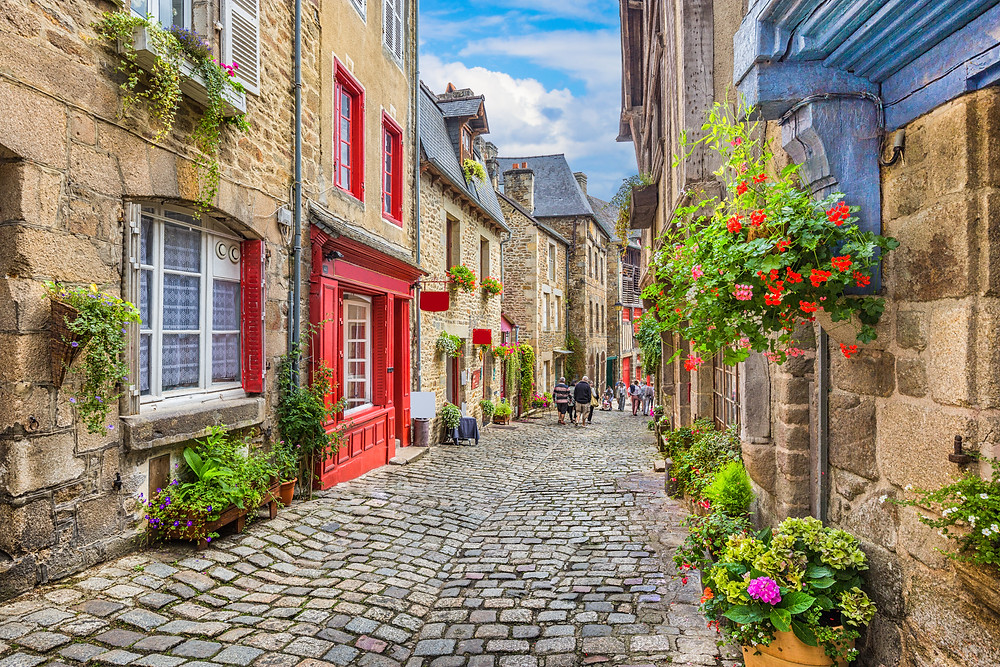 quaint town in Normandy France
