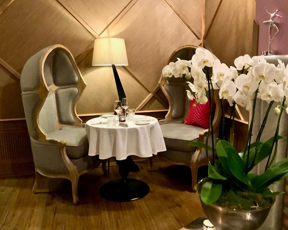 a nook in the Liszt Restaurant in the Aria Hotel