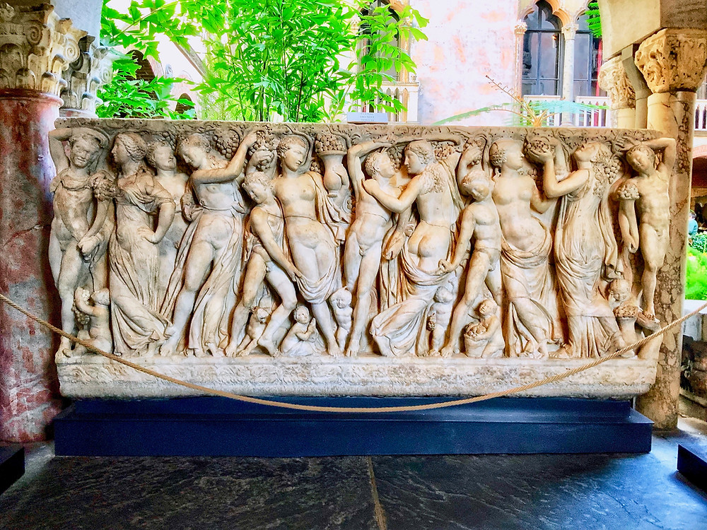 the Farnese Sarcophagus in the Courtyard of the Isabella Stewart Gardner Museum