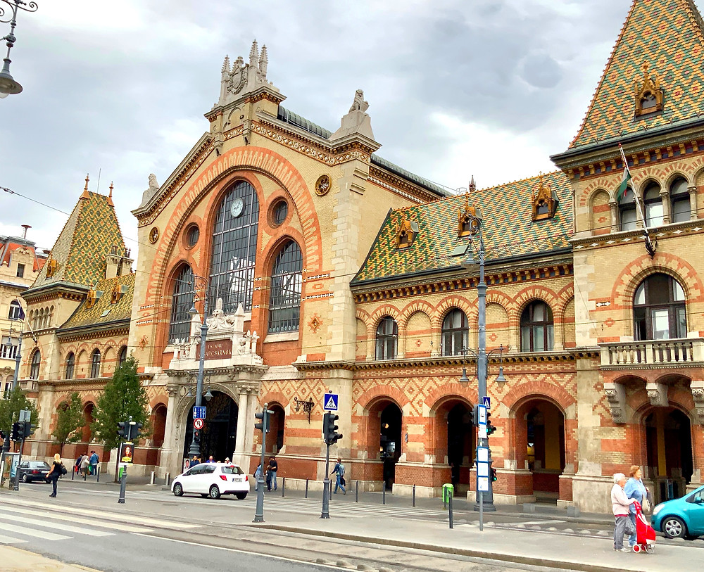 Central Market in Budapest, on a gray morning