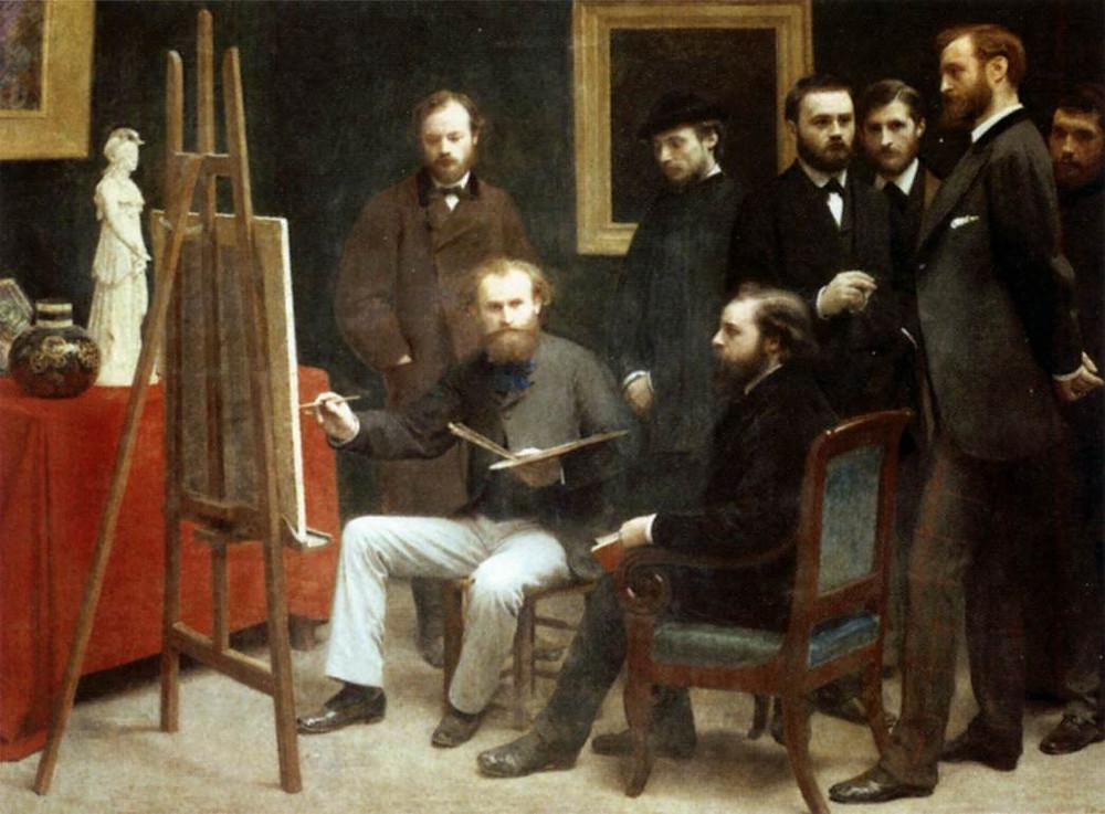 Fantin-Latour, A Studio in the Batignolles Quarter, 1870 -- Monet paints while other Impressionists watch