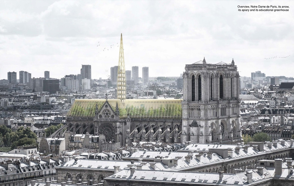 Studio NAB's design looks to modernize the Notre Dame Cathedral while staying respectful of the French Gothic architecture, with the addition of a greenhouse and apiary along the original roofline and spire.  Photo by Studio NAB