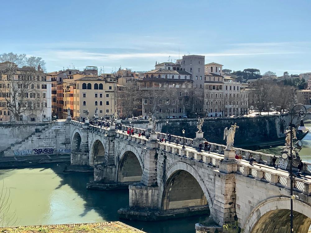 the Bridge of Angels, line with 10 Bernini-designed angels