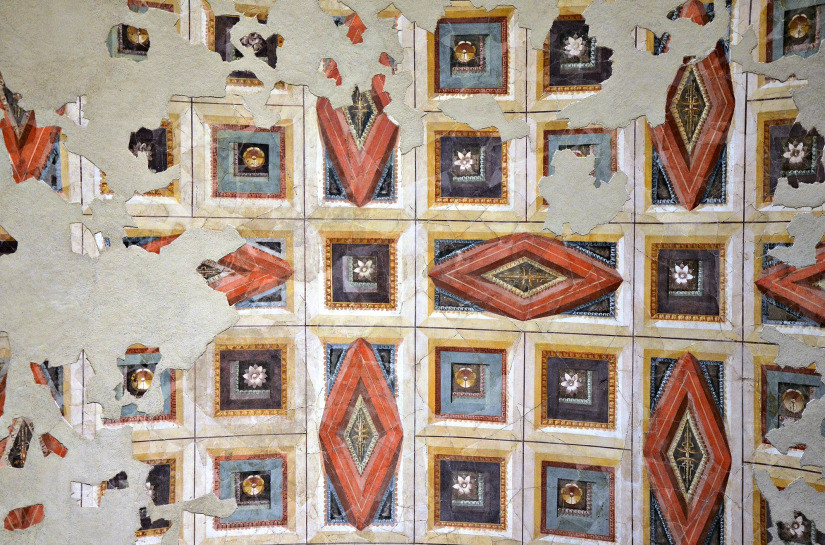 the painted ceiling of the Ramp Room, designed to look like a coffered ceiling