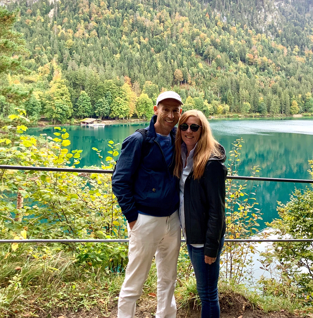 my husband and I in Schwangau getting ready to tour the castles