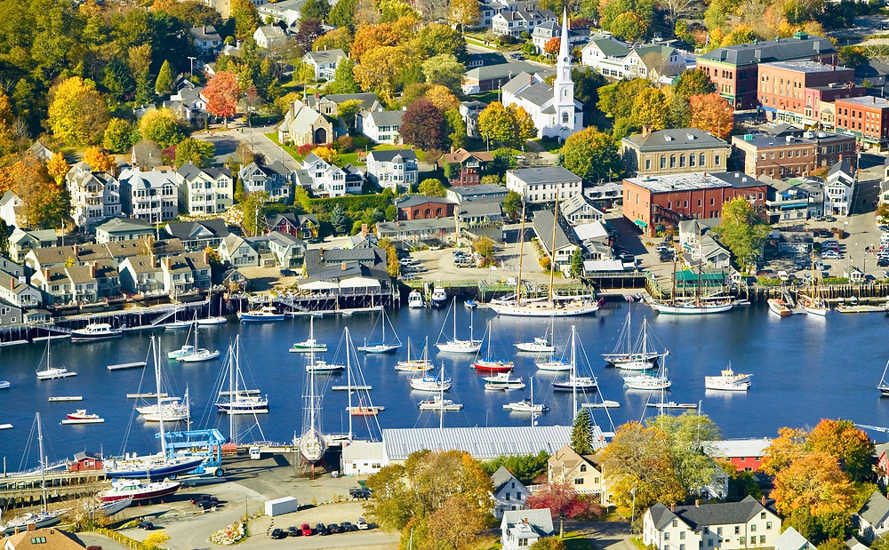 aerial view of Bar Harbor Maine