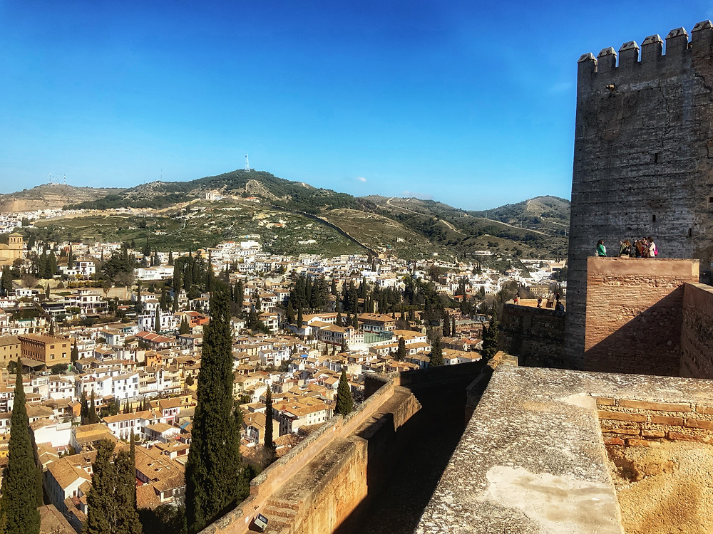 view of Granada from the Alcazaba in the Alhambra complex