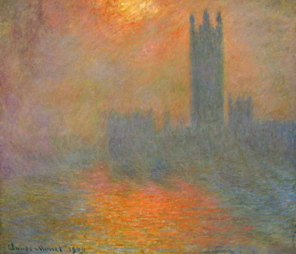 Monet, London, Houses of Parliament, The Sun Shining through the Fog, 1904