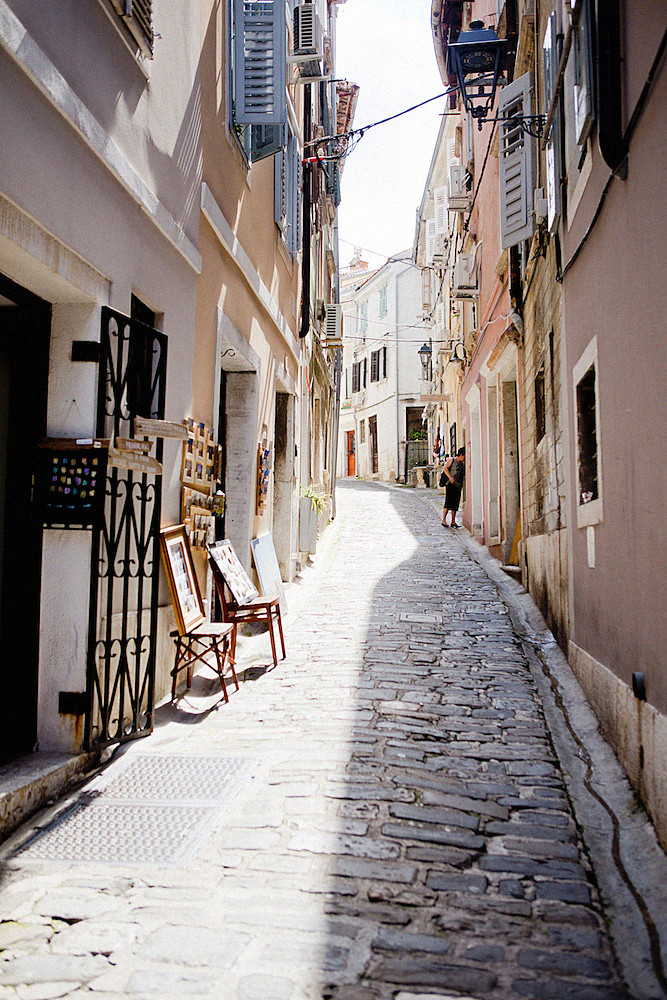 one of Piran's cobbled medieval streets