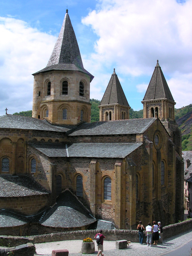 the Romanesque Abbey of St Foy, a UNESCO-listed site in Conques