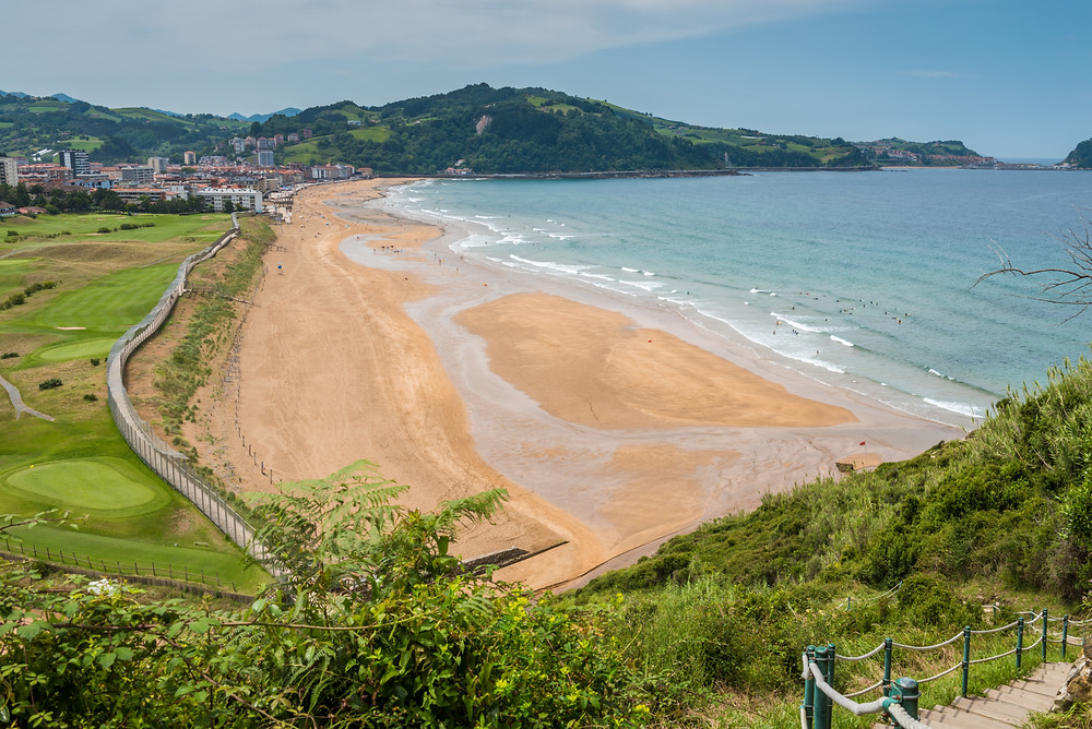the beautiful beach in Zauratz outside San Sebastian