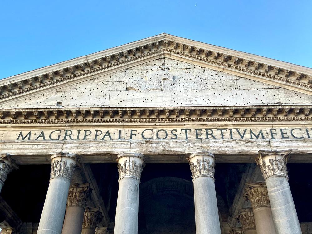 inscription to Marcus Agrippa on the Pantheon pediment