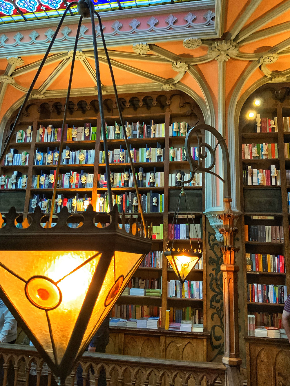 beautiful art nouveau features and lighting in Livraria Lello