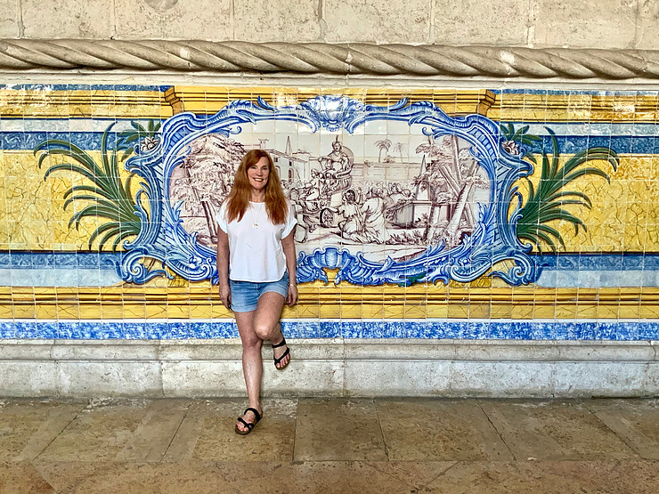 admiring the Refectory's azulejos